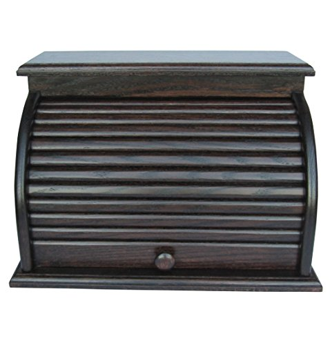 Roll Top Bread Box Amish Handcrafted Storage Oak Bin Wooden ()