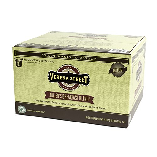 Verena Street Single Cup Pods (80 Count) Medium Roast Coffee, Julien's Breakfast Blend, Rainforest Alliance Certified Arabica Coffee, Compatible with Keurig K-cup Brewers