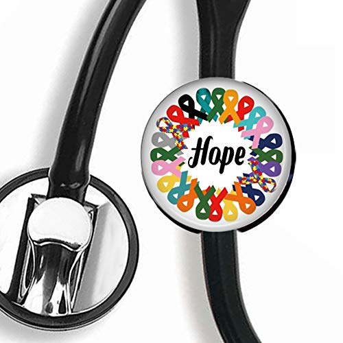 - Stethoscope Tag - Cancer Awareness Ribbon Clip Art - Stethoscope Accessory - Steth ID Tag/Nurse Badge/RN/LPN/RT