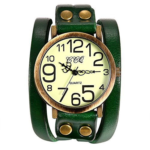 Lancardo Vintage Ladies Large Arabic Markers Multi Layers Leather Wrap Cuff Bracelet Wrist Watch(Green) (Large Watch Bracelet)