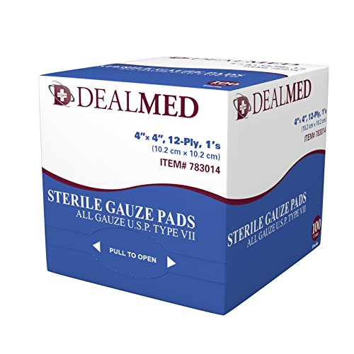 """Dealmed Sterile Gauze Pads, Individually Wrapped Absorbent 4"""" x 4"""", 100/Box"""