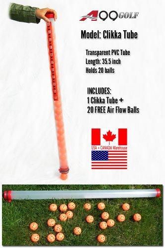 Golf Clear clikka ball pick up plastic tube retriever + 20pc