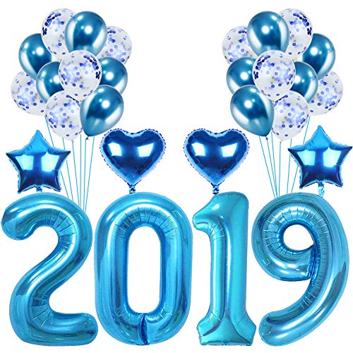 28Pcs Blue Color Foil Balloons, 2019 Birthday Graduation