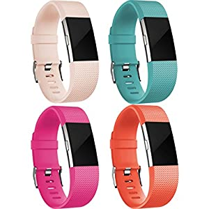 Replacement Accessories Bands ( 4 Pack) for Fitbit Charge 2, Small