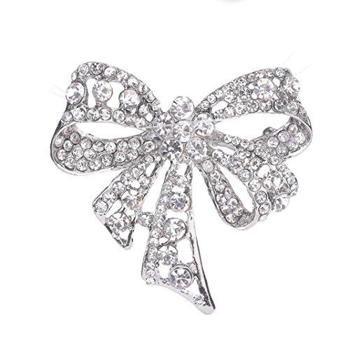 Rhinestone Buckle Bow (DDLBiz Women Rhinestone Brooch Bow Tie Brooches Scarves Pin Clips Shawl Buckle)