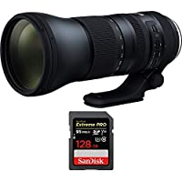 Tamron SP 150-600mm F/5-6.3 Di VC USD G2 Zoom Lens for Canon Mounts (AFA022C-700) with Sandisk Extreme PRO SDXC 128GB UHS-1 Memory Card