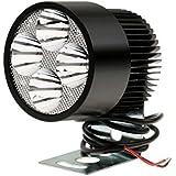 Lovoski 2個 お買い得 高輝度  ホワイト 20W LED ライト オートバイ アルミニウム ヘッドライト スポット ライト クランプ付き