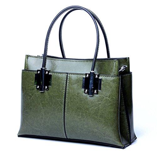 Hhf Retro Bolsa Green Joker Y Mujer Hombro Bag Boston Crossbody De Cuero Bolsos Bolso qwrxqRIF