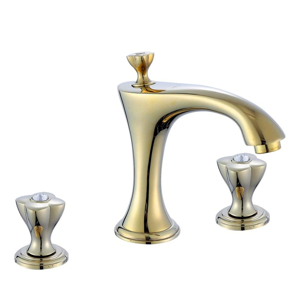 WEAO Brass Split Basin Faucet Double 3-Hole Hot Cold Water Mixing Valve Multi-Layer Plating Corrosion-Resistant Rust-Proof