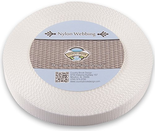 Country Brook Design 1 Inch Heavy Nylon Webbing, 50 Yard, White
