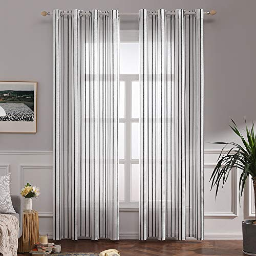 MIULEE Window Curtain Sheer Elegance Pinstripe Voile Grommet Window Treatment for Bedroom Living Room (Set of 2 Panels, 52x84 Inch Black Stripe) (Ticking Curtains Black)
