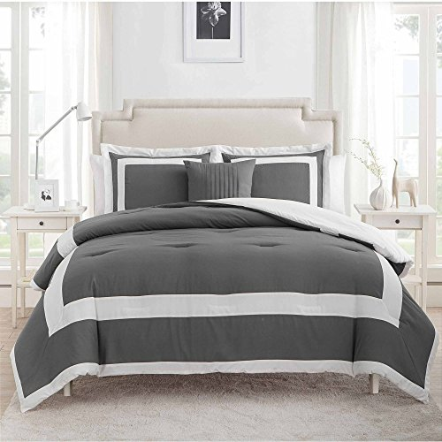 vcny home avianna 4 piece king size bedding comforter set in grey 100