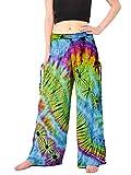Orient Trail Women's Bohemian Yoga Tie-dye Wide Leg Palazzo Pants XL Andaman Blue