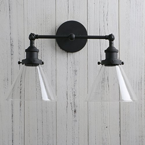 Permo Vintage Industrial Antique 2-Lights Wall Sconces with Dual Funnel Clear Glass Shade (Black) by PERMO (Image #6)