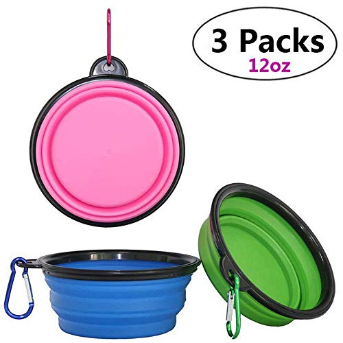 Hasgia Collapsible Dog Water Bowl, Travel Foldable Lightweight for Walking Hiking Camping Expandable Pet Food Dish Portable Flexible Cat Feeding Dishes Bowl with Carabiners (Blue/Green/Pink:3pcs)