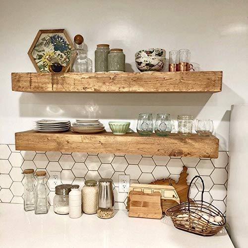 Wood Floating Shelves 10-inches Deep | Rustic Shelf | Farmhouse Shelf | Floating Shelf | Reclaimed Wood | Handmade Shelf | Wood Wall Shelf