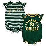MLB Oakland A's Newborn Girls 2pk Creeper-0/3 Months, Dark Green
