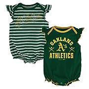 OuterStuff MLB Oakland A's Newborn Girls 2pk Creeper-3/6 Months, Dark Green