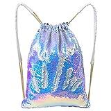 MHJY Mermaid Sequin Bag,Magic Reversible Sequin Drawstring Backpack Glitter Sports Dance Bag Shiny Outdoor Beach Travel Backpack
