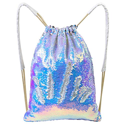 Sequined Drawstring - MHJY Mermaid Sequin Bag,Magic Sparkly Sequin Drawstring Backpack Glitter Sports Dance Bag Shiny Outdoor Beach Travel Backpack