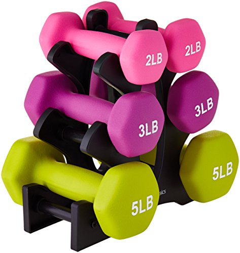 AmazonBasics 20 Pounds Neoprene Workout Dumbbell Weights with Weight Rack - 3 Pairs of Dumbbells (Stepper Mat)
