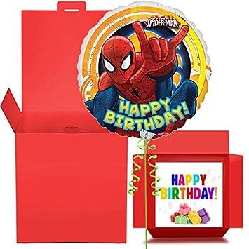 Happy Birthday Spiderman Balloon In A Box Gift
