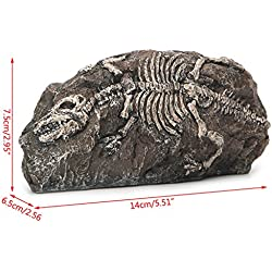 Dyna Thomas Dinosaur Fossil Rocks Ornament Waterfall Salt Artificial Stone Moss Silk Plants for Betta vorcool Squidward Fish Tank Hermit Crab Climbing Toys Saim Bikini Bottom Aquarium Decorations