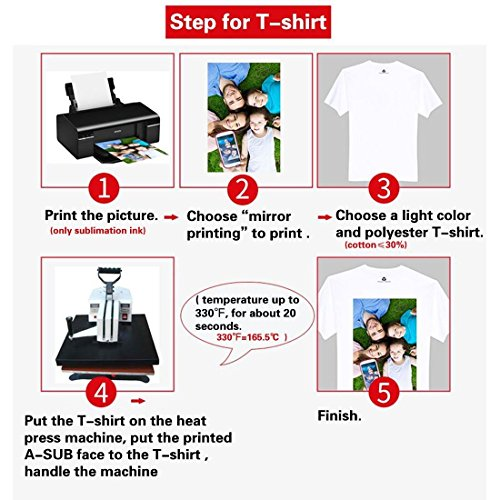 A-SUB Sublimation Paper Heat Transfer 110Sheets 13'' x 19'' Super Size Compatible with EPSON ME RICOH GX Series and SAWGRASS Etc Inkjet Printer 120gsm by A-SUB (Image #4)