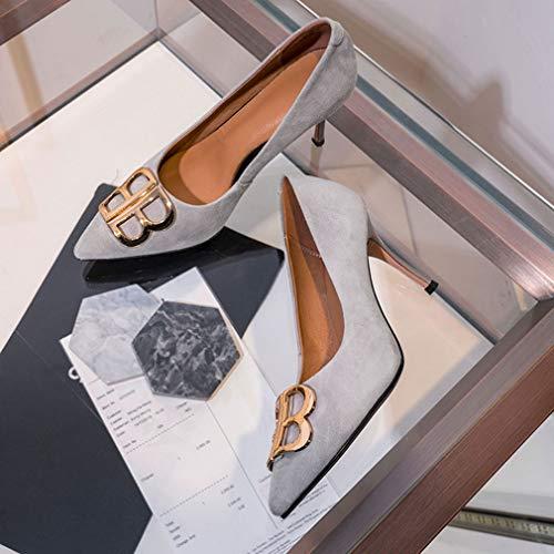 Mode Cuir A Femmes Bouche automne Dames Pointu Nouveau À Hauts 34 De Peu Gfphfm Simples Talons c En Printemps Bout Nouvelles Chaussures Profonde Stiletto PUwxRRgqI