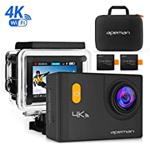 APEMAN 4K Action Camera with WiFi 20MP Waterproof Cam Ultra 170 Wide-Angel 2 Inch LCD Display - 2 Pcs Rechargeable...