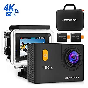 APEMAN 4K Action Camera WiFi 20MP Waterproof Underwater Cam Ultra 170 Angel 2 Inch LCD Display - 2 Rechargeable Batteries,30M Waterproof Case and Portable Package including Full Accessories Kits