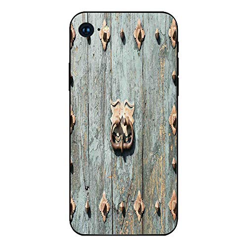 (Phone Case Compatible with iphone7 iphone8 mobile phone covers phone shell Brandnew Tempered Glass Backplane,Rustic,European Cathedral with Rusty Old Door Knocker Gothic Medieval Times Spanish Style D)