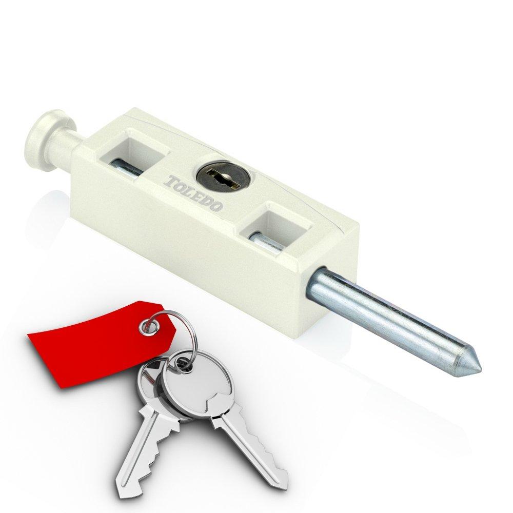 Sliding Patio Door Lock : Security Hardened Keyed Bolt : Uses Yale Lock Keyway : White : By TOLEDO