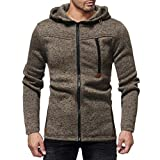 Caopixx Men's Jacket Men Autumn Winter Sleeve Zipper Hooded Sweatshirt Sweater Coat Top