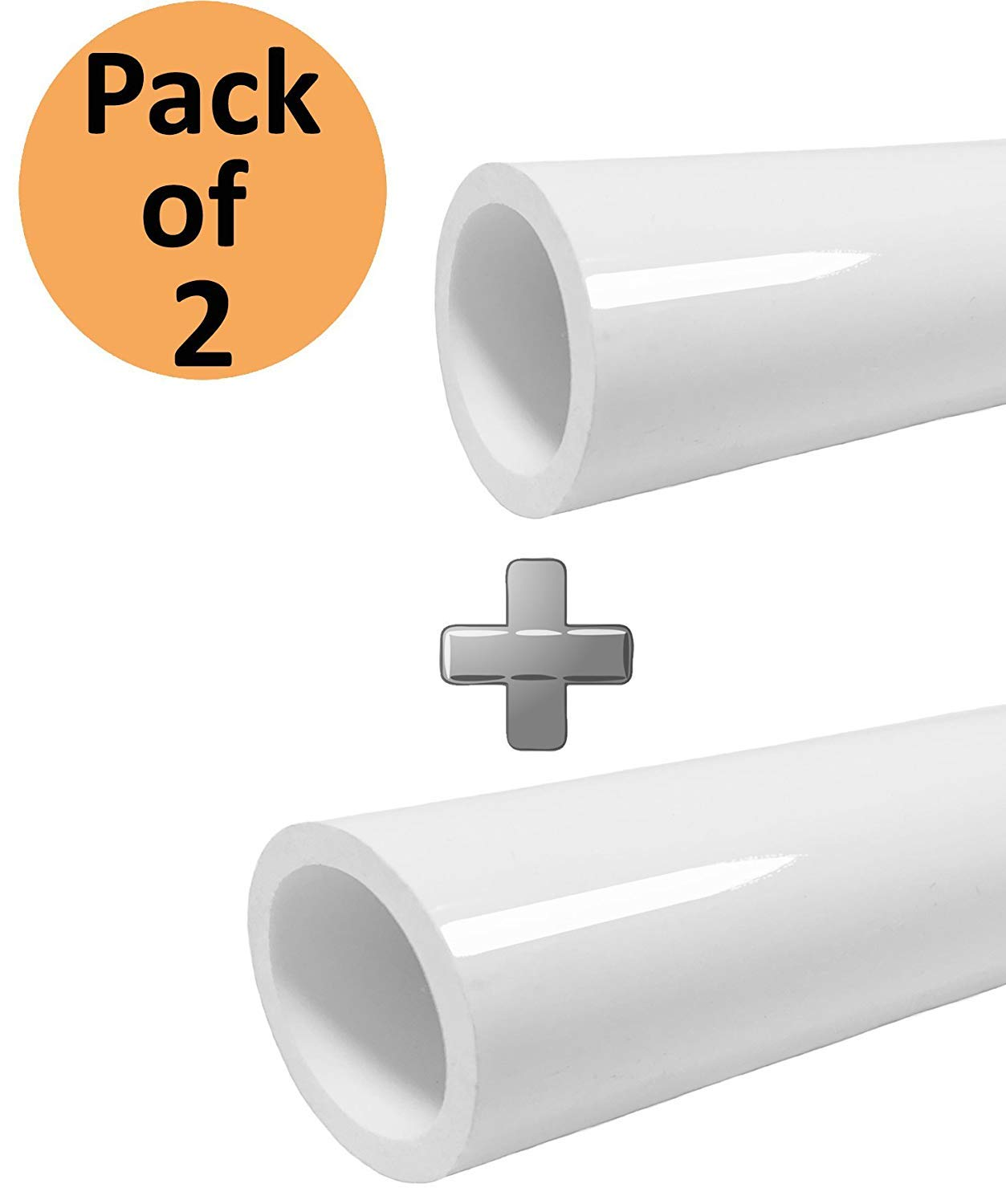 PVC Pipe 1 inch 5ft Schedule 40 PVC Pipe, Furniture Grade,Size Pipe 5' long, White [2Pack] by SELLERS360