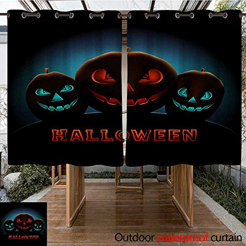 Outdoor Curtain for Patio Halloween Text Message and Blue Pumpkins W108 x -