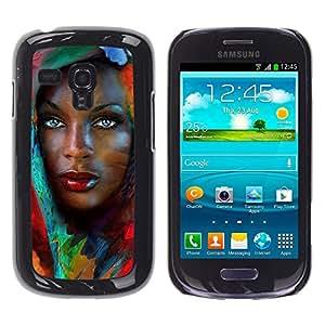 YOYOYO ( NO PARA S3 i9300 ) Smartphone Protección Defender Duro Negro Funda Imagen Diseño Carcasa Tapa Case Skin Cover Para Samsung Galaxy S3 MINI I8190 I8190N - Muchacha africana con hojas de colores