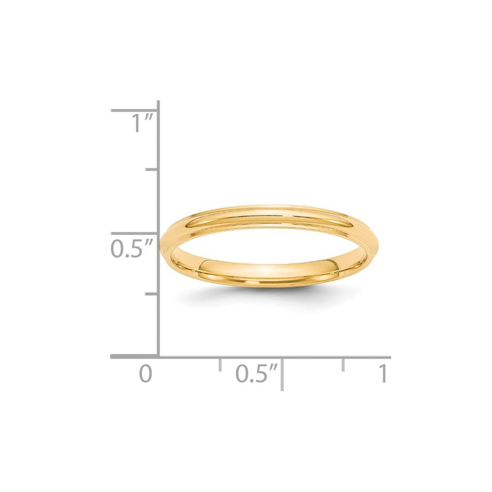 Jewel Tie 14k Yellow Gold 2.5mm Half Round with Edge Wedding Band