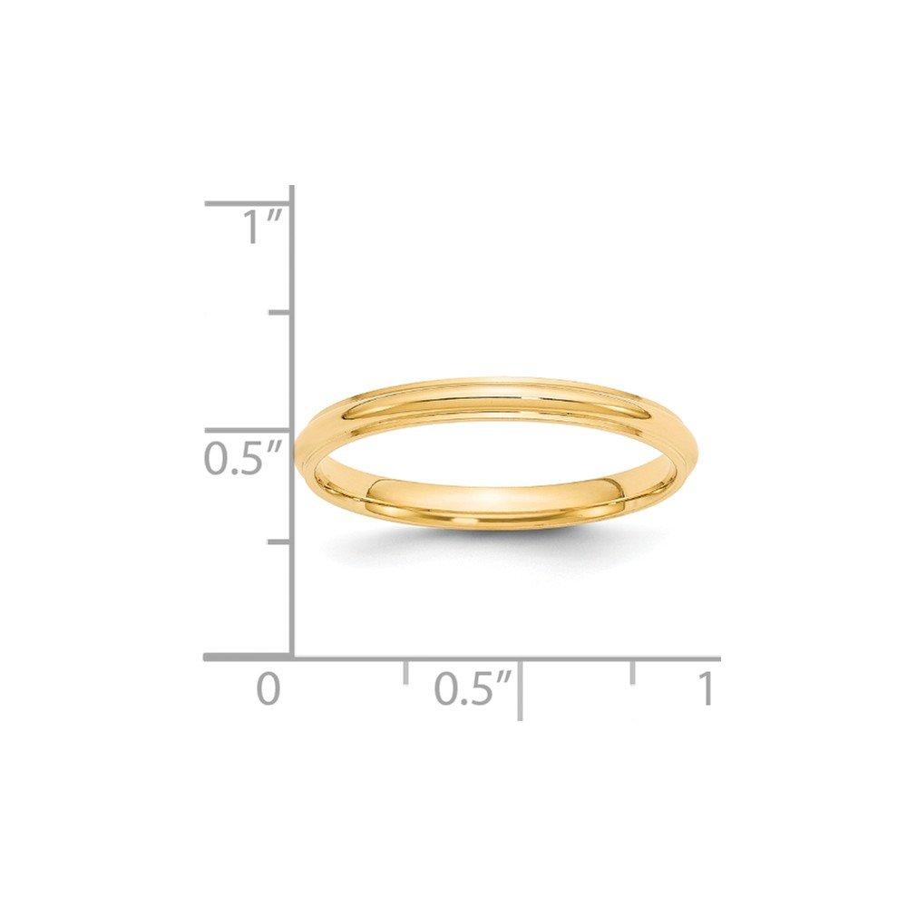 14k Yellow Gold 2.5mm Half Round with Edge Mens Womens Wedding Anniversary Band