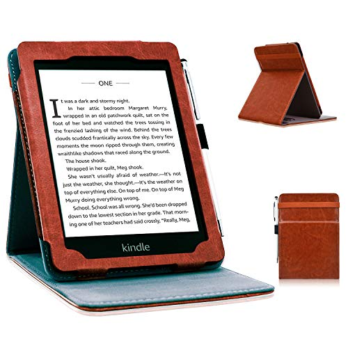 ACdream Case Fits All-New Kindle 10th Genetation 2019 Release, Stand Leather Wallet Cover Case for Kindle 10th Generation 2019 and Kindle 8th Generation 2016 with Auto Wake Sleep Feather, Brown ()