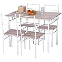 Merax 5 Pcs Wood and Metal Dining Set Table and 4 Chairs Home Kitchen Modern FurniturexFF08;NaturalxFF09;