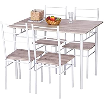 Merax 5 Pcs Wood And Metal Dining Set Table And 4 Chairs Home Kitchen  Modern FurniturexFF08