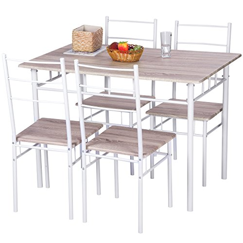 Merax 5 Pcs Wood and Metal Dining Set Table and 4 Chairs Home Kitchen Modern FurniturexFF08;NaturalxFF09; (Chairs With Table Breakfast 4)