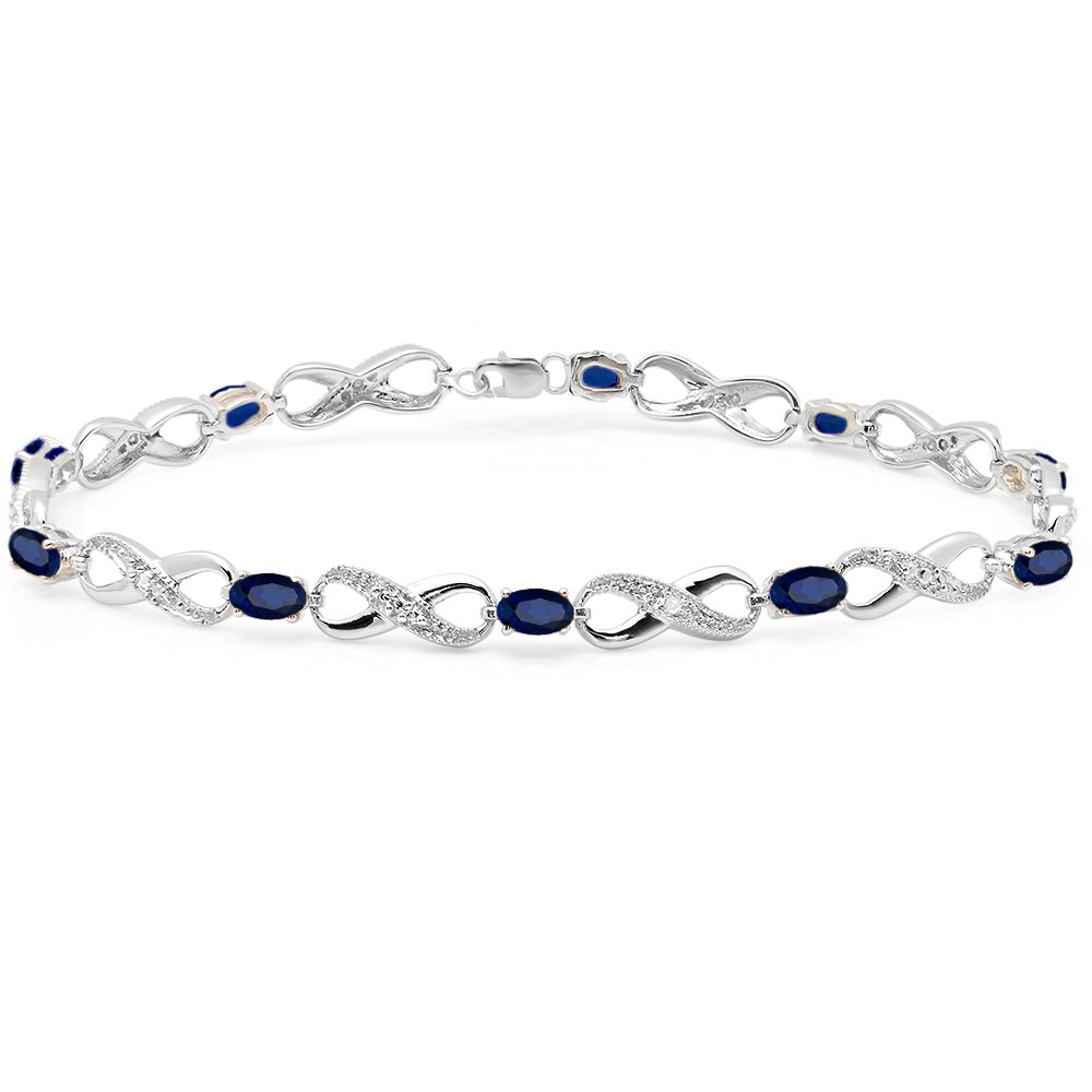 Sterling Silver Blue Sapphire & White Diamond Ladies Infinity Link Tennis Bracelet