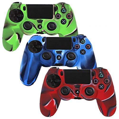 Camouflage Silicone Case (Generic-3 Pack Combo Protective Silicone Case for Sony Playstation 4 Ps4 Controller- Camouflage Red / Blue / Green Color)