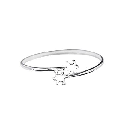 Fundraising For A Cause   Autism Awareness Double Puzzle Piece Bangle Bracelets - Puzzle Jewelry for Autism & Asperger's Awareness in a Gift Box (1 Bracelet - Retail): Toys & Games