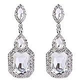 BriLove Women's Fashion Wedding Geometry Crystal Emerald Cut Infinity Chandelier Dangle Earrings