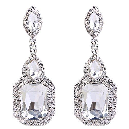[BriLove Women's Wedding Bridal Crystal Emerald Cut Infinity Figure 8 Chandelier Dangle Earrings Clear Silver-Tone] (Austrian Costume Jewelry)