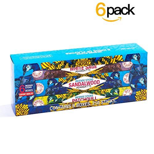 Premium Incense Sticks Gift Pack - Sandalwood, Myrrh, Patchouli, Rose, Lavender and White Sage Agarbatti for Aromatherapy, Yoga, Meditation (240 Grams)
