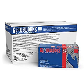 Image of GLOVEWORKS HD Industrial Blue Nitrile Gloves - 6 mil, Latex Free, Powder Free, Diamond Texture, Disposable, XLarge, GWRBN48100, Case of 1000 Health and Household